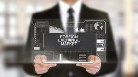 Валютно-обменный рынок, интерфейс Hologram футуристический, увеличенная виртуальная реальность иллюстрация штока
