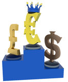 Валюты выстраивая в ряд - доминирование евро Стоковая Фотография RF