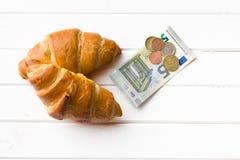 2 валюты круассанов и евро Стоковая Фотография