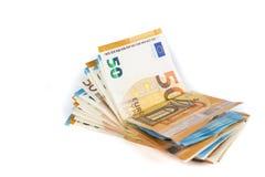 Валюшка наличных денег евро представляет счет банкноты стоковое фото