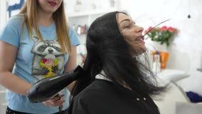 Введите студию в моду, парикмахер сушит волосы усмехаясь клиента девушки в косметическом кабинете сток-видео