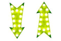 2 вверх и вниз зеленой винтажной яркой и красочной загоренной стрелки дисплея подписывают Стоковое Изображение RF