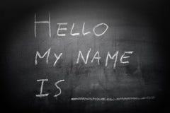 Введение собственной личности - здравствуйте!, мое имя написанный на blackboar Стоковые Изображения RF