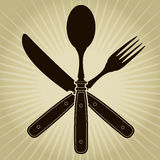 Год сбора винограда ввело нож, вилку и ложку/ресторан в моду   Стоковая Фотография RF