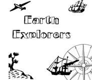 Вводные путешественники земли крышки с красивыми кораблем, самолетом, кактусом и компасом орнамента стоковое фото rf