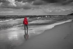 вдоль женщин пляжа гуляя Стоковое Фото