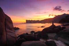 вдоль захода солнца лета Hong Kong свободного полета Стоковое Изображение