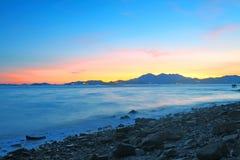 вдоль захода солнца свободного полета Стоковые Фото