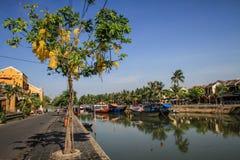 Вдоль реки Bon Thu на солнечный день, Hoi, провинция Quang Nam, Вьетнам стоковое фото