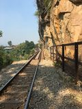 2011 вдоль kanchanaburi февраля смерти тележки двигает работника следов Таиланда железной дороги фото железнодорожными принятого  стоковое изображение rf