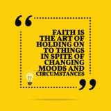 Вдохновляющая мотивационная цитата Вера искусство держать дальше к иллюстрация вектора