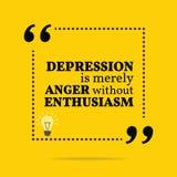 Вдохновляющая мотивационная цитата Депрессия просто острословие гнева Стоковые Изображения