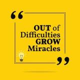 Вдохновляющая мотивационная цитата Из затруднений вырастите mirac иллюстрация вектора