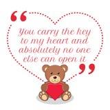 Вдохновляющая цитата влюбленности Вы носите ключ к моим сердцу и abso иллюстрация штока