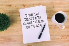 Вдохновляющие цитаты - если план не работает, то измените план не цель стоковые фото