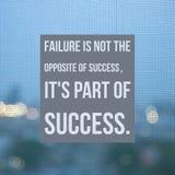 Вдохновляющий мотивационный отказ ` цитаты нет противоположности успеха, его часть ` s успеха ` Стоковое Изображение