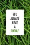 Вдохновляющий плакат вы всегда имеете выбор стоковая фотография