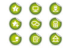 вебсайты зеленых икон блогов липкие Стоковые Изображения RF