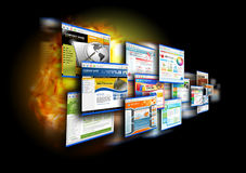 Вебсайты скорости интернета на черноте Стоковые Фото