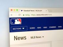 Вебсайт высшей лиги бейсбола - MLB Стоковая Фотография