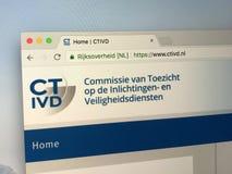 : Вебсайт голландской комиссии общей информации и безопасности - CTIVD Стоковая Фотография