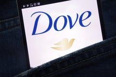 Вебсайт голубя показанный на смартфоне спрятанном в кармане джинсов стоковые изображения