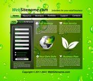 вебсайт зеленого шаблона eco опирающийся на определённую тему Стоковое Изображение RF