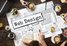 Вебсайт дизайна создает концепцию плана шаблона Стоковые Изображения