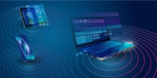 Вебсайт интернета творения отзывчивый для множественных платформ Строя мобильный интерфейс на экране ноутбука, планшета, смартфон иллюстрация штока
