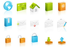 вебсайт кубического интернета иконы установленный иллюстрация вектора