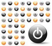 вебсайт лоснистой иконы применений установленный Стоковые Фото