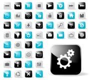 вебсайт лоснистой иконы применений установленный Стоковое Фото