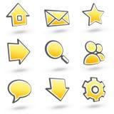вебсайт померанца 01 иконы установленный иллюстрация вектора