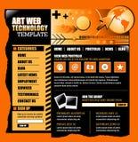 вебсайт шаблона черного интернета померанцовый Стоковое Фото