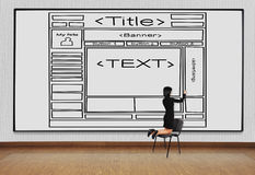Вебсайт шаблона чертежа женщины Стоковые Фото