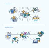 Веб-дизайн, Blogging установленные составы концепции значков Стоковые Фото