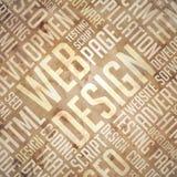 Веб-дизайн - Grunge Бежев-Брайн Wordcloud. Стоковое фото RF