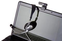 веб-камера компьтер-книжки шлемофона Стоковая Фотография RF