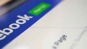 Веб-страница дисплея Facebook сток-видео