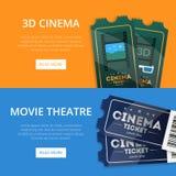 Веб-страница для покупая билетов кино иллюстрация штока