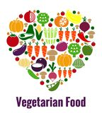 Вегетарианская форма сердца еды Стоковое Изображение