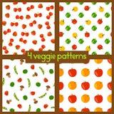 Вегетарианские безшовные картины Здоровый уклад жизни Предпосылки Veggie с плодоовощами, овощами, ягодами и грибами Стоковые Фотографии RF