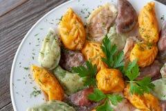 Вегетарианские вареники в границах стоковые фото