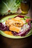 Вегетарианские китайские блинчики с начинкой Стоковые Фото