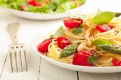 Вегетарианские макаронные изделия спагетти стоковая фотография rf