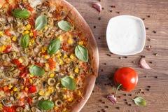 Вегетарианские пицца и ингридиенты с специями на деревенской деревянной предпосылке, фаст-фуде Стоковая Фотография