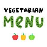 Вегетарианский знак меню с перцами бесплатная иллюстрация