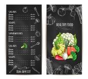 Вегетарианский здоровый эскиз мела меню еды иллюстрация вектора