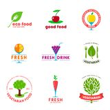 Вегетарианский комплект дизайна логотипа кафа бесплатная иллюстрация