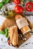 Вегетарианский сандвич багета Стоковые Фотографии RF